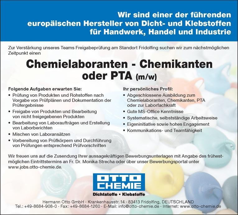 Chemielaboranten - Chemikanten oder PTA (m/w)