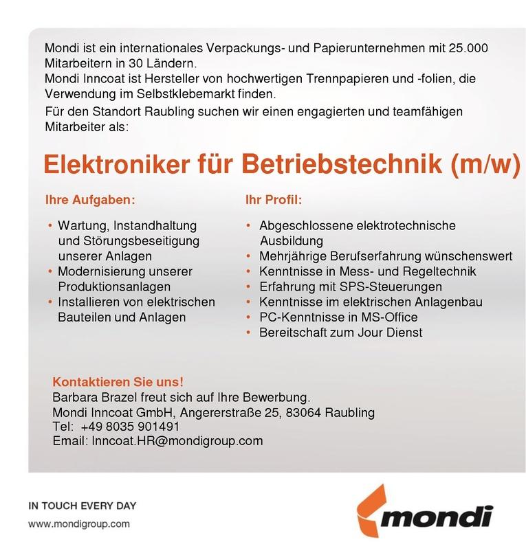 Elektroniker für Betriebstechnik (m/w)