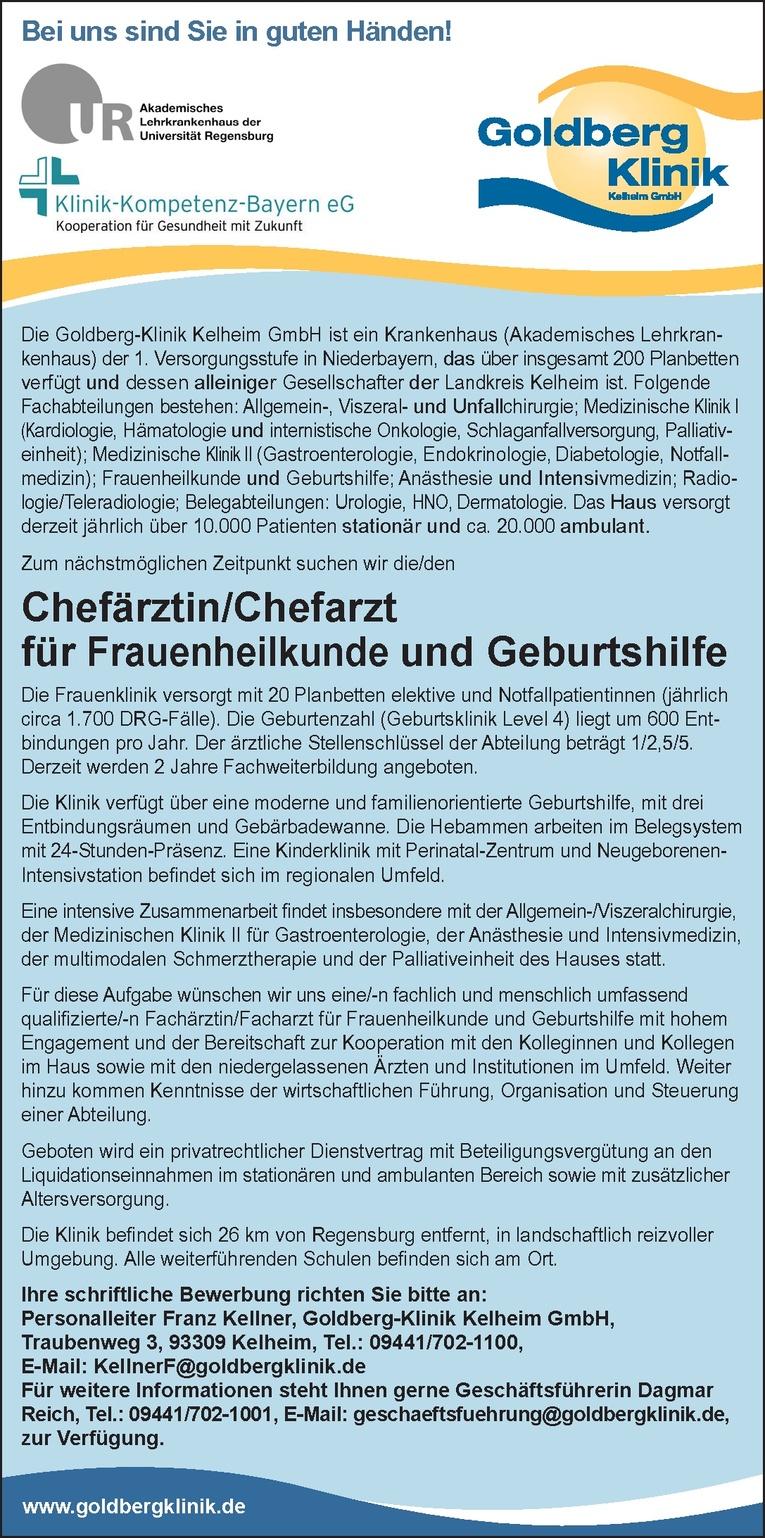 Chefärztin/Chefarzt für Frauenheilkunde und Geburtshilfe
