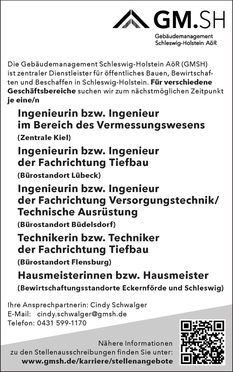 Ingenieurin bzw. Ingenieur der Fachrichtung Versorgungstechnik/Technische Ausrüstung