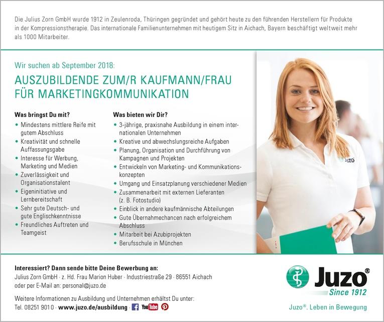 AUSZUBILDENDE ZUM/R KAUFMANN/FRAU FÜR MARKETINGKOMMUNIKATION ab September 2018