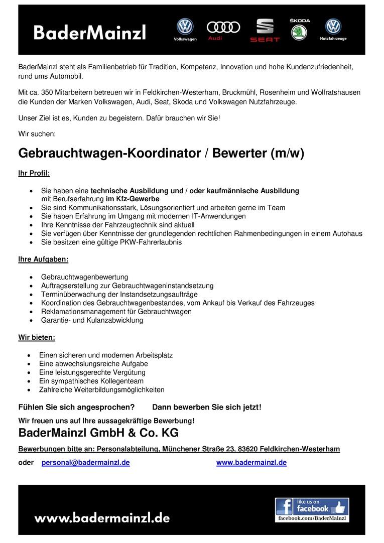 Gebrauchtwagen-Koordinator / Bewerter (m/w)