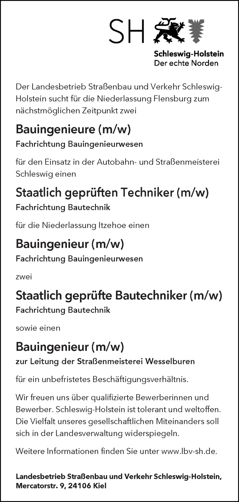 Bauingenieur (m/w) zur Leitung der Straßenmeisterei Wesselburen