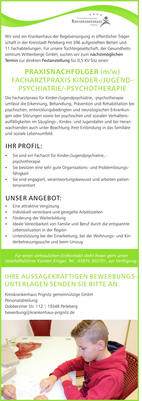 Praxisnachfolger (m/w) Facharztpraxis Kinder- und Jugendpsychiatrie/-psychotherapie