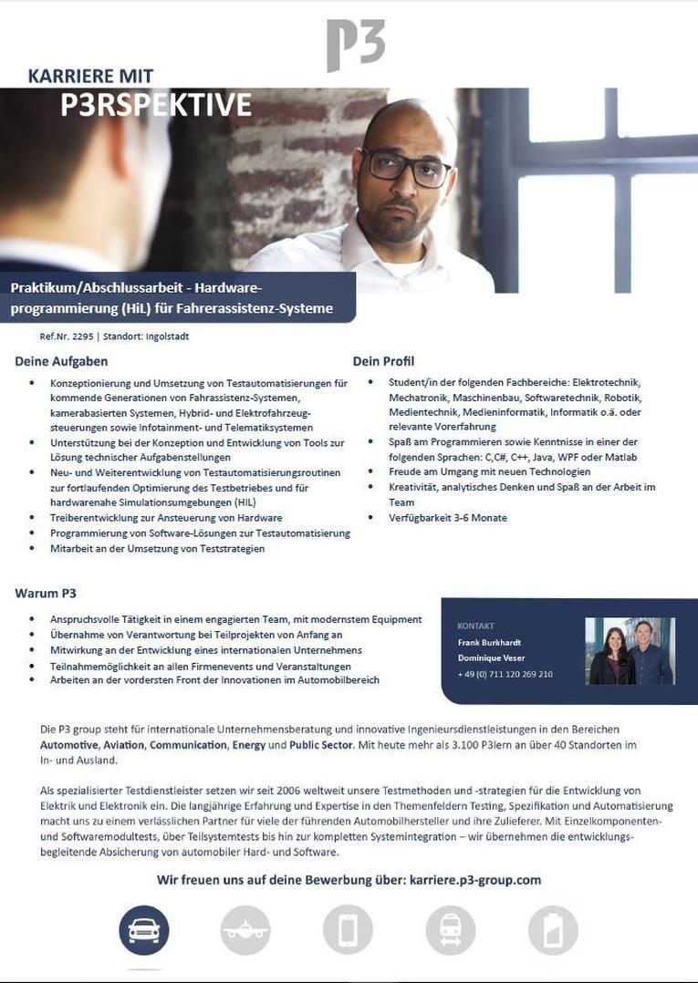 Praktikum/Abschlussarbeit - Hardware-Programmierung (HiL) für Fahrerassistenz-Systeme