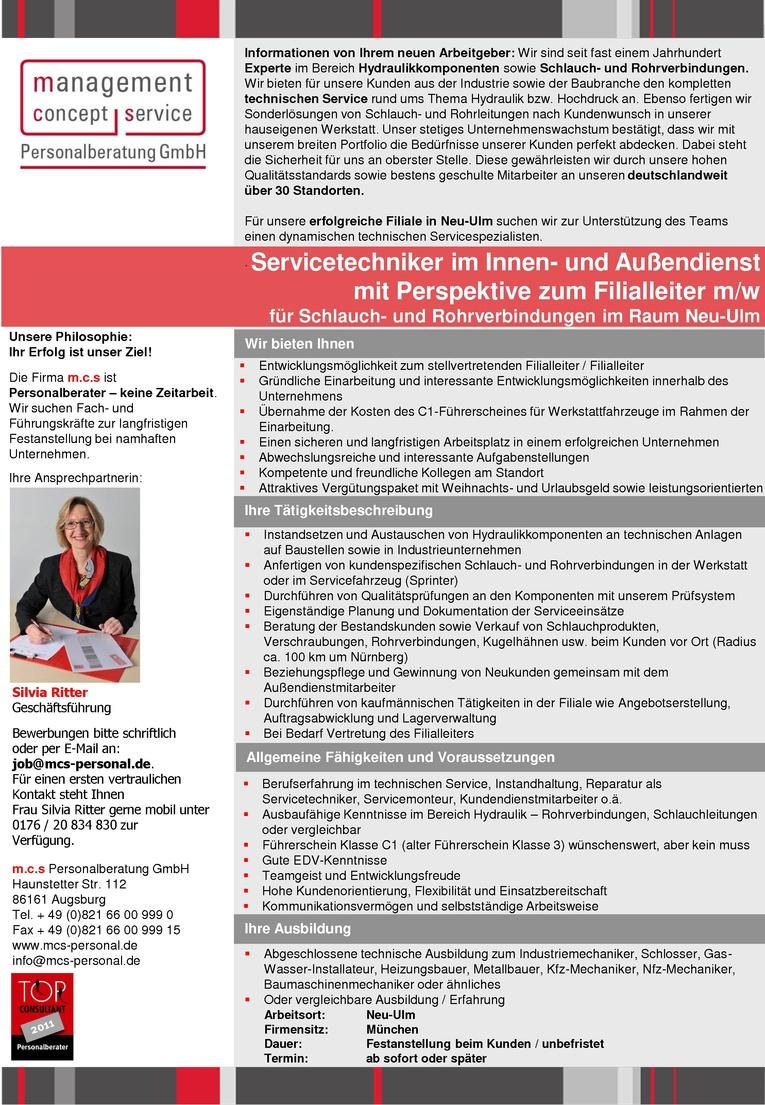 Servicetechniker im Innen- und Außendienst m/w mit Perspektive zum Filialleiter m/w für Schlauch- und Rohrverbindungen im Raum Neu-Ulm