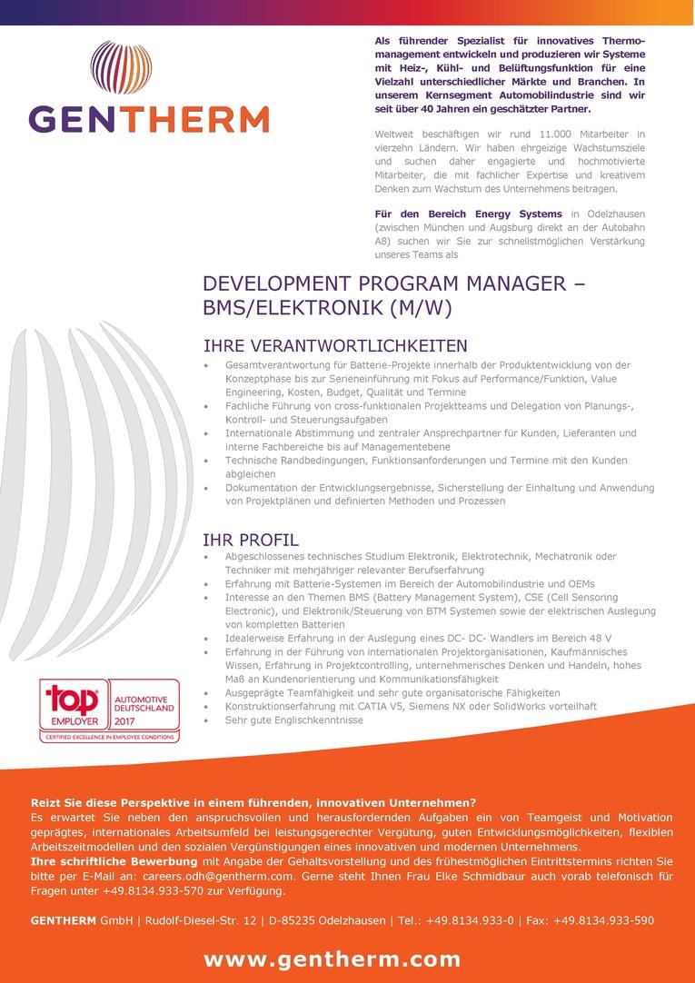 Development Program Manager - BMS/Elektronik (m/w)