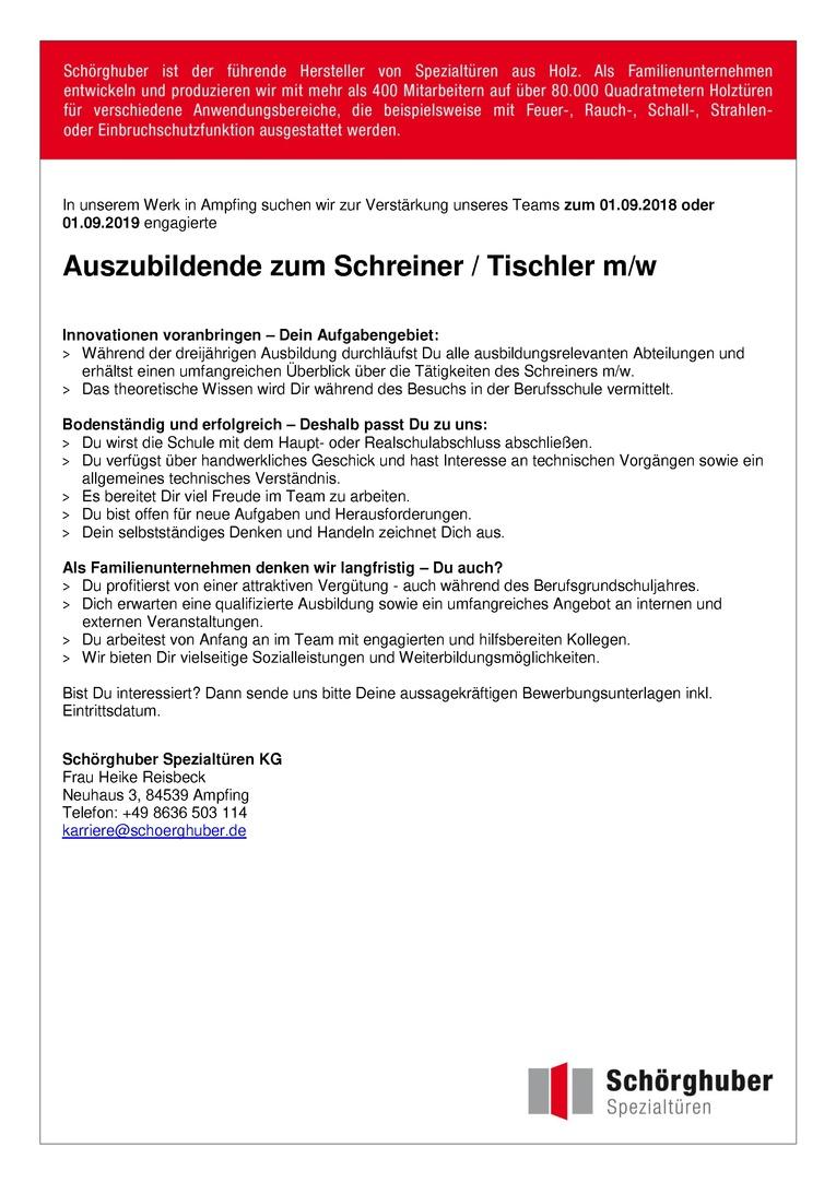 Auszubildender zum Schreiner / Tischler m/w