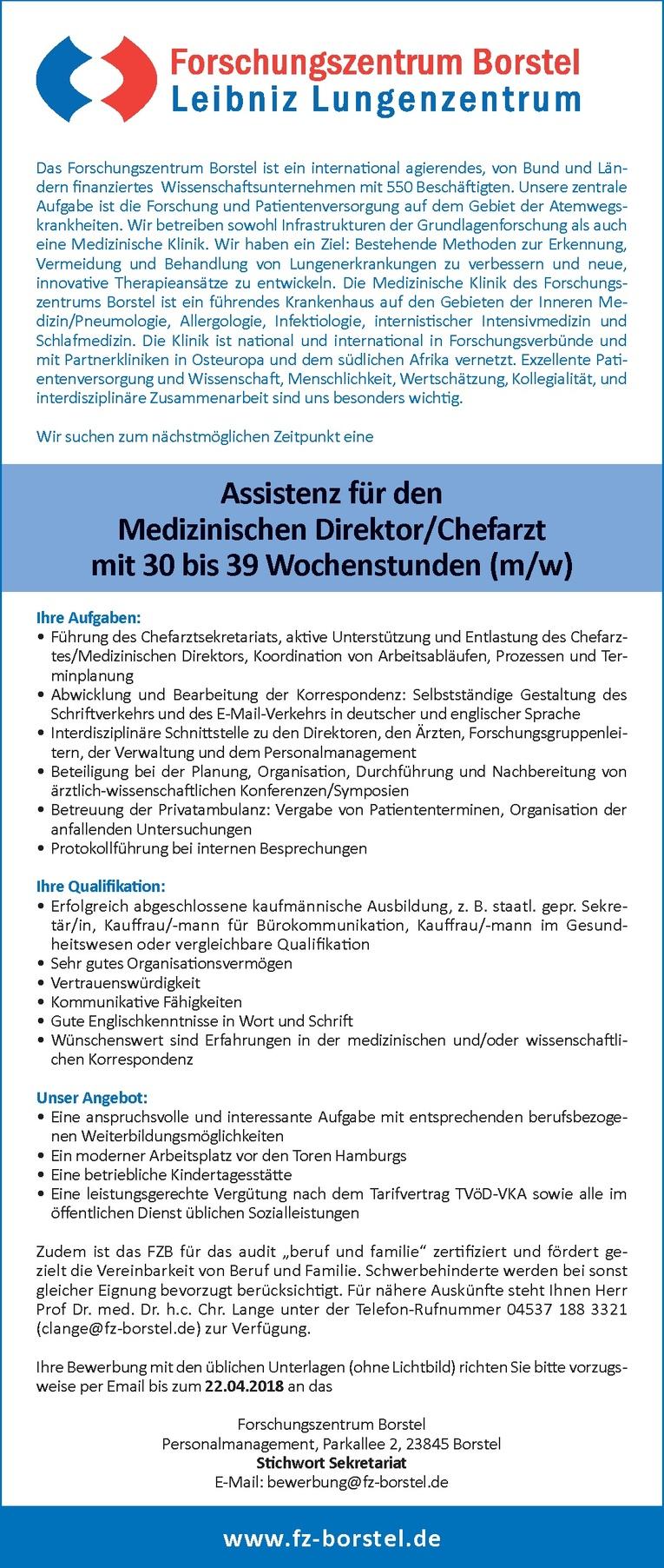 Assistenz für den Medizinischen Direktor/Chefarzt