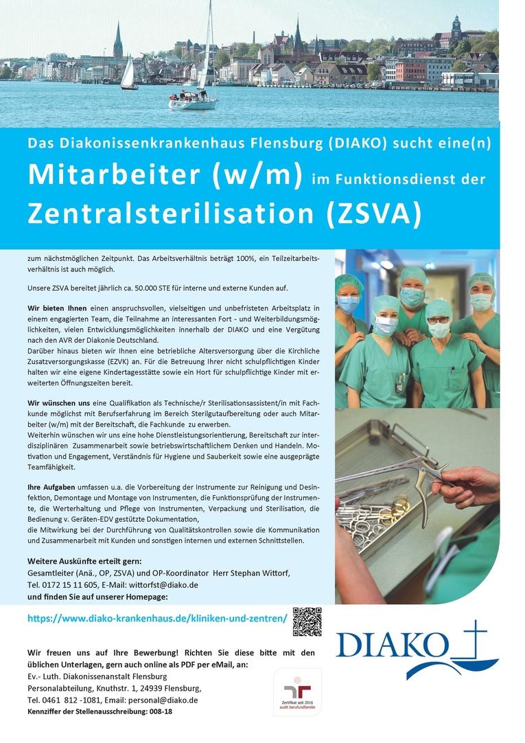 Sterilisationsassistent (w/m) oder Mitarbeiter (w/m) für unsere Zentralsterilisation