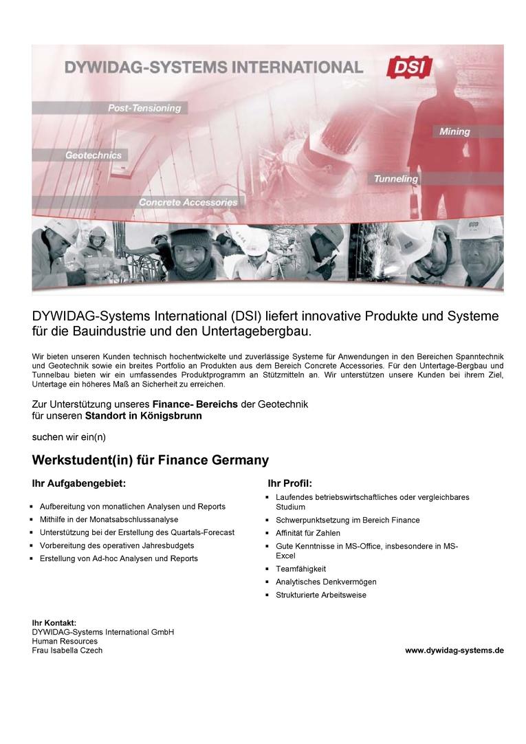 Werkstudent(in) für den Bereich Finance - Königsbrunn