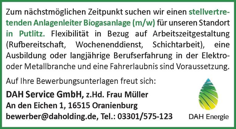 Stellvertretenden Anlagenleiter Biogasanlage (m/w)