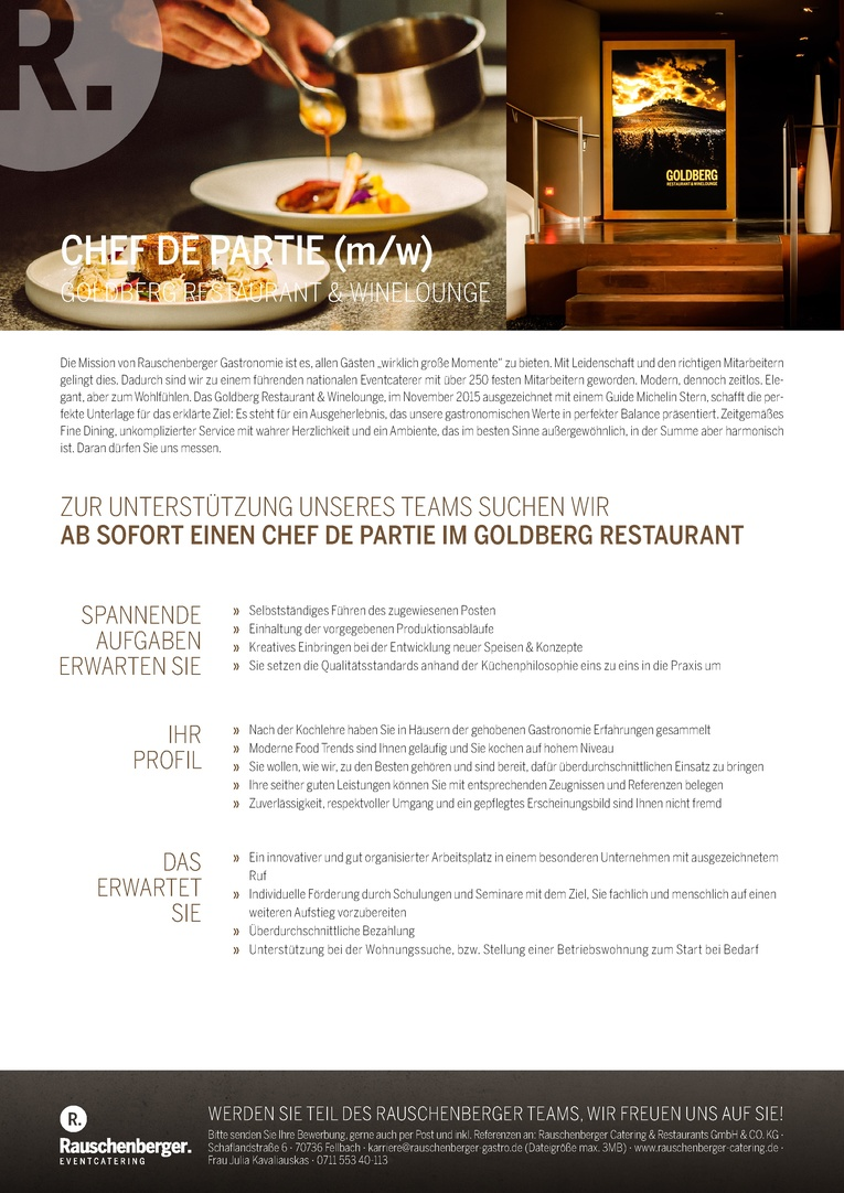 CHEF DE PARTIE (m/w) IM GOLDBERG RESTAURANT