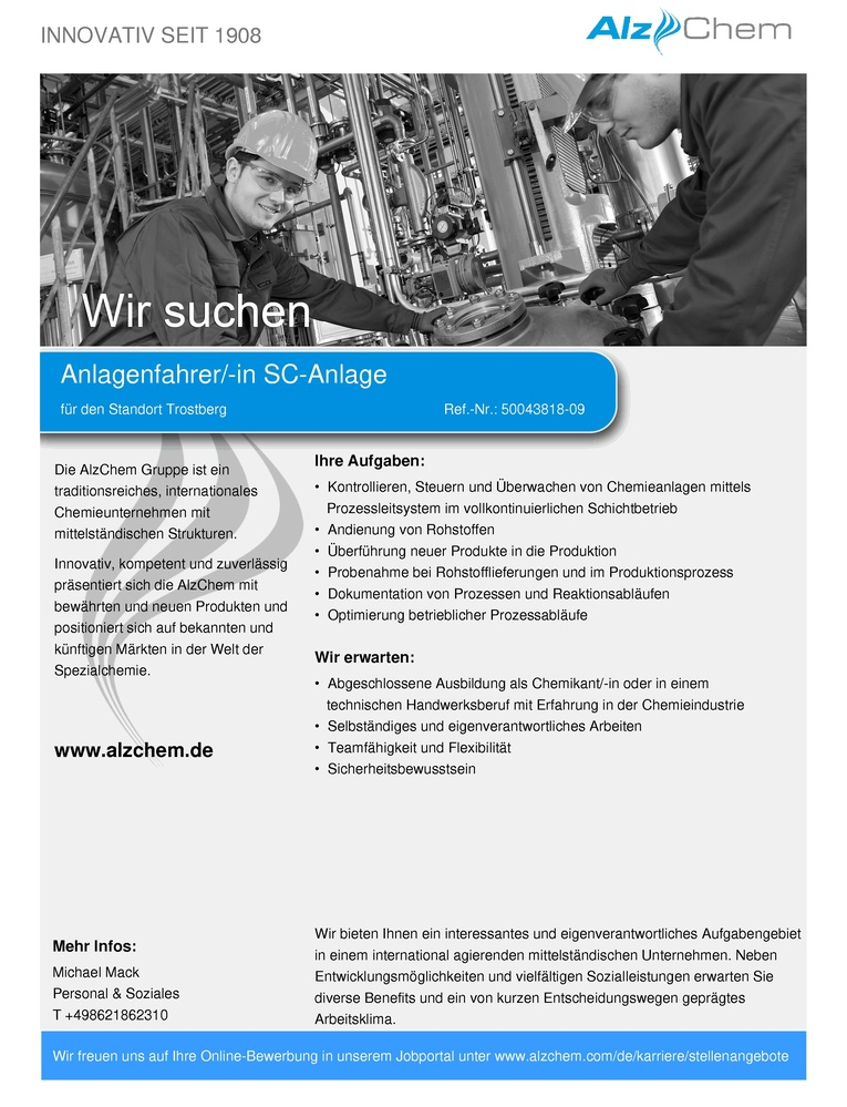 Anlagenfahrer/-in SC-Anlage