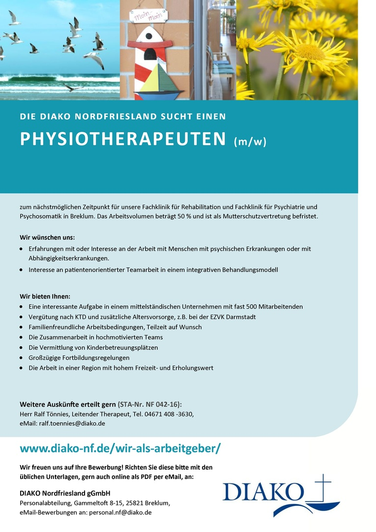 Physiotherapeut (w/m) für die DIAKO Nordfriesland gGmbH