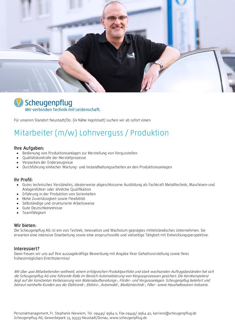 Mitarbeiter (m/w) Lohnverguss / Produktion