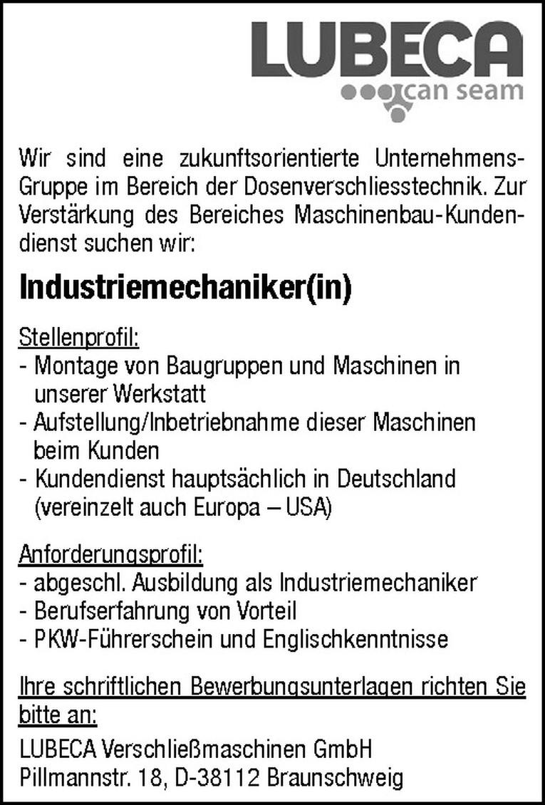 Industriemechaniker(in)