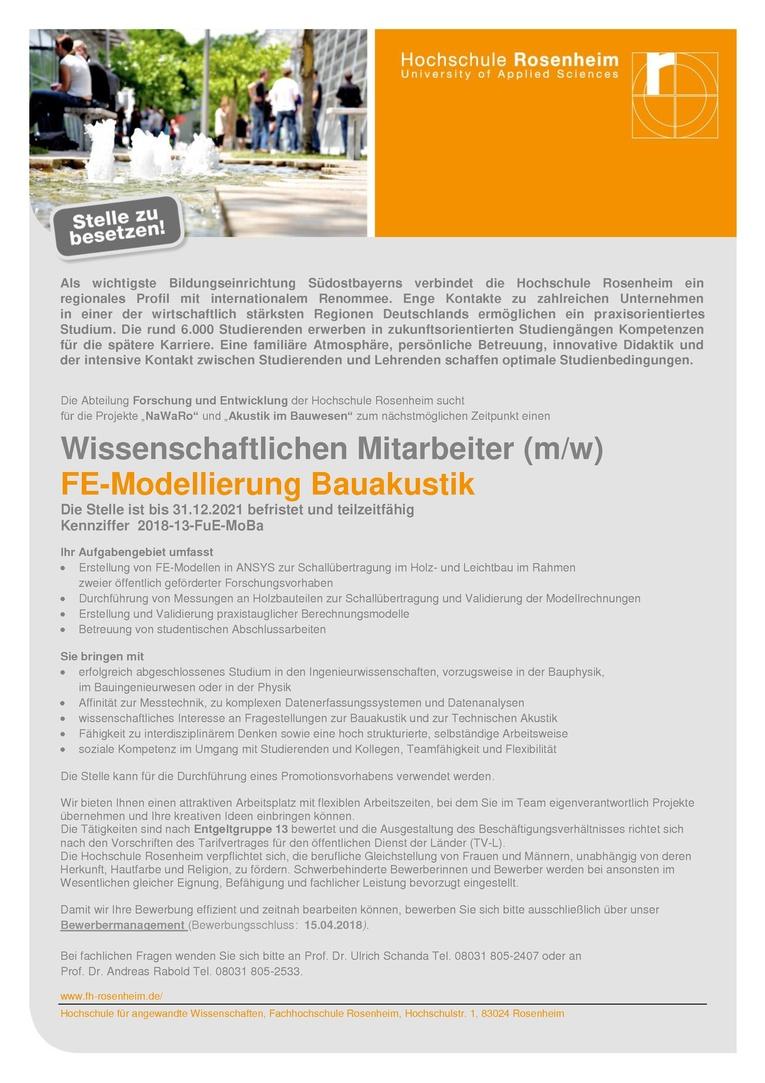 Wissenschaftlichen Mitarbeiter (m/w) - FE-Modellierung Bauakustik