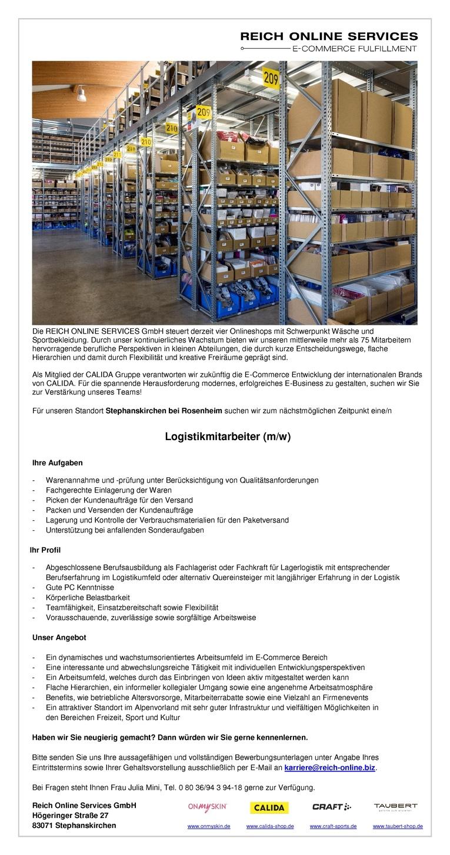 Logistikmitarbeiter (m/w)