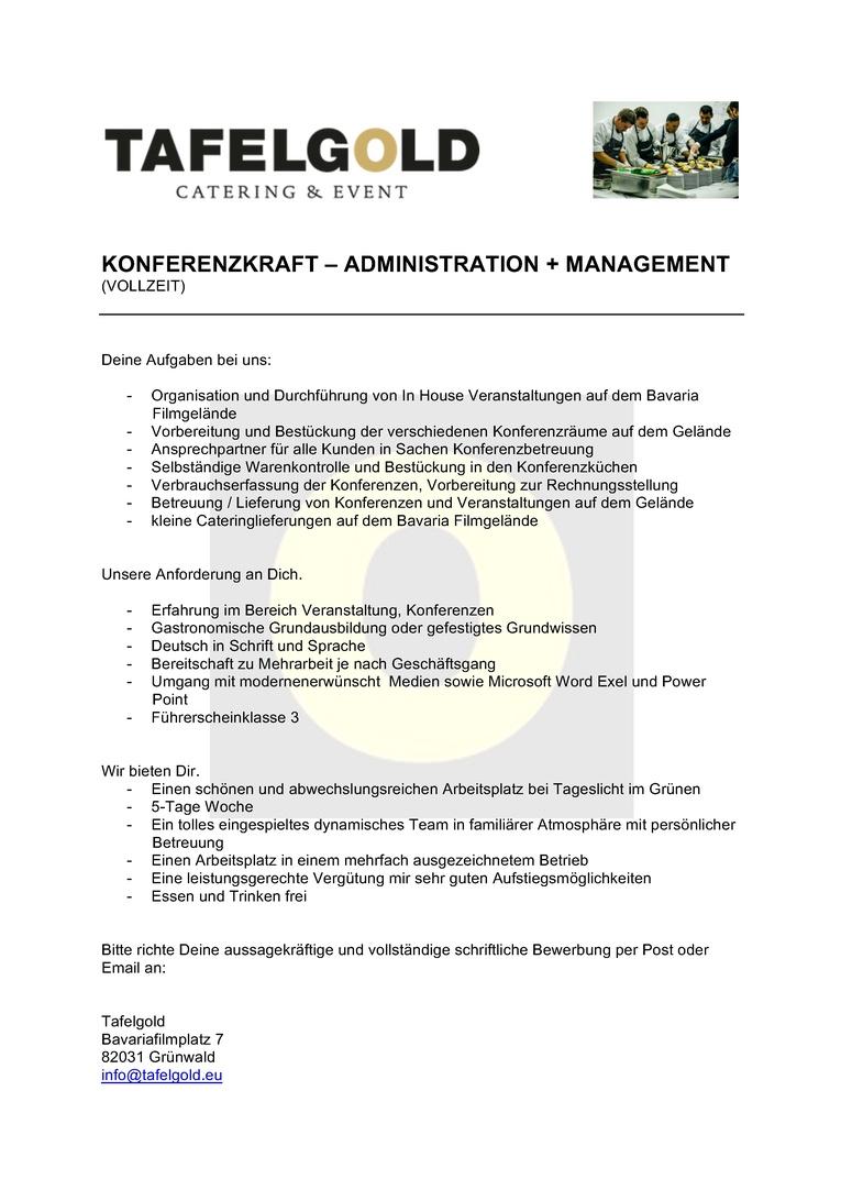 Konferenzmitarbeiter Administration und Management  am Bavaria Filmgelände (m/w)