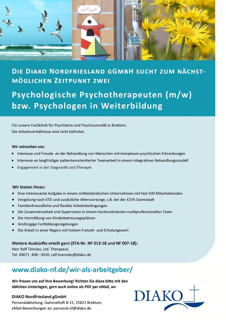 Psychologischer Psychotherapeut (m/w) / Dipl.-Psychologe in psychotherapeutischer Weiterbildung (w/m)