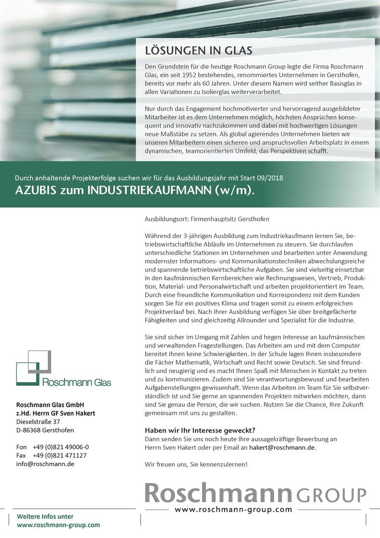 AZUBIS zum INDUSTRIEKAUFMANN (w/m) Start 09/2018