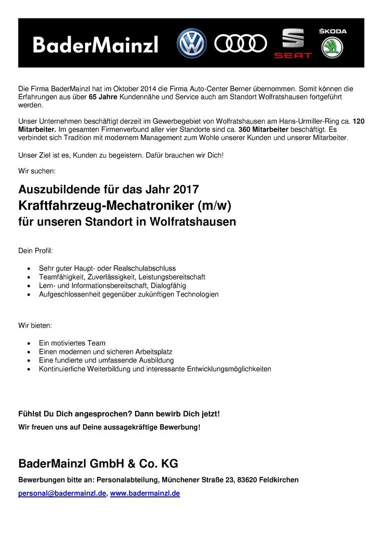 Auszubildende 2017 - Kraftfahrzeug-Mechatroniker / Kraftfahrzeug-Mechatronikerin
