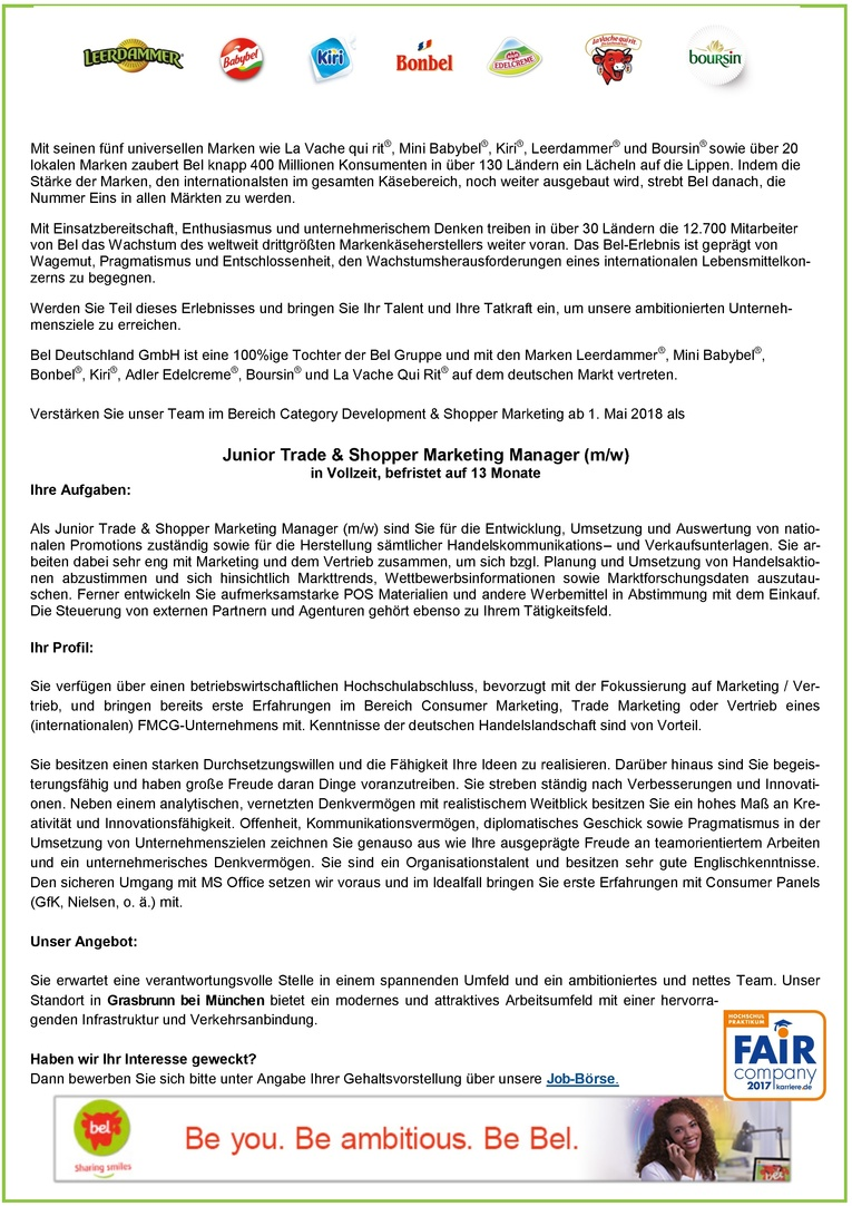 Junior Trade & Shopper Marketing Manager (m/w)