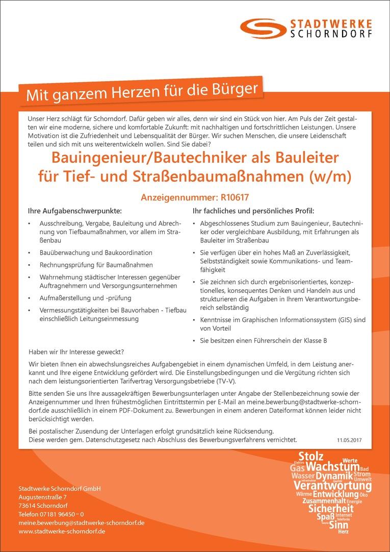 Bauingenieur / Bautechniker als Bauleiter für Tief- und Straßenbaumaßnahmen (w/m)