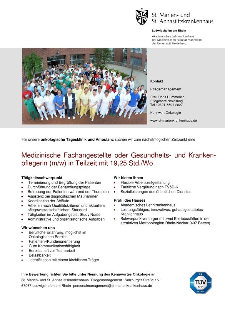 Medizinische Fachangestellte / Gesundheits- und Krankenpflegerin (m/w) in Teilzeit
