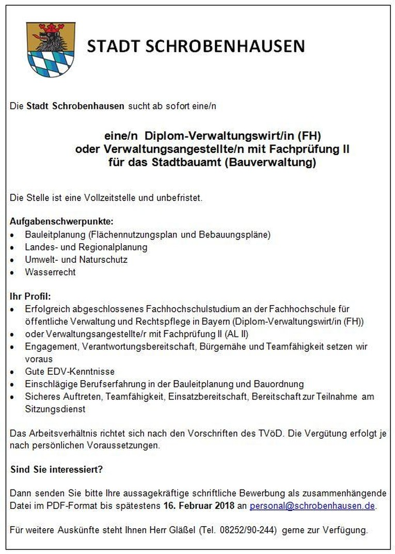 Diplom-Verwaltungswirt/in (FH) oder Verwaltungsangestellte/n mit Fachprüfung II für das Stadtbauamt