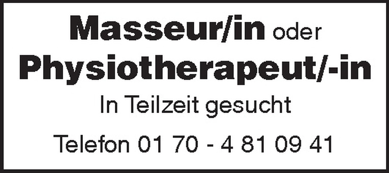 Masseur/in / Physiotherapeut/-in
