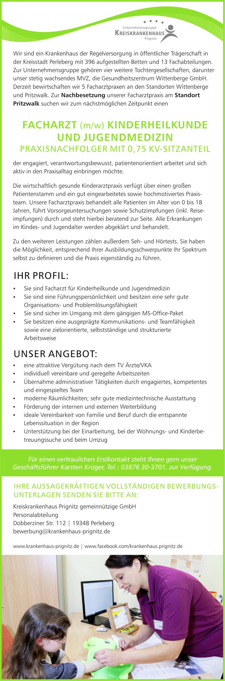 Praxisnachfolger (m/w) Facharztpraxis Kinder- und Jugendmedizin in Pritzwalk