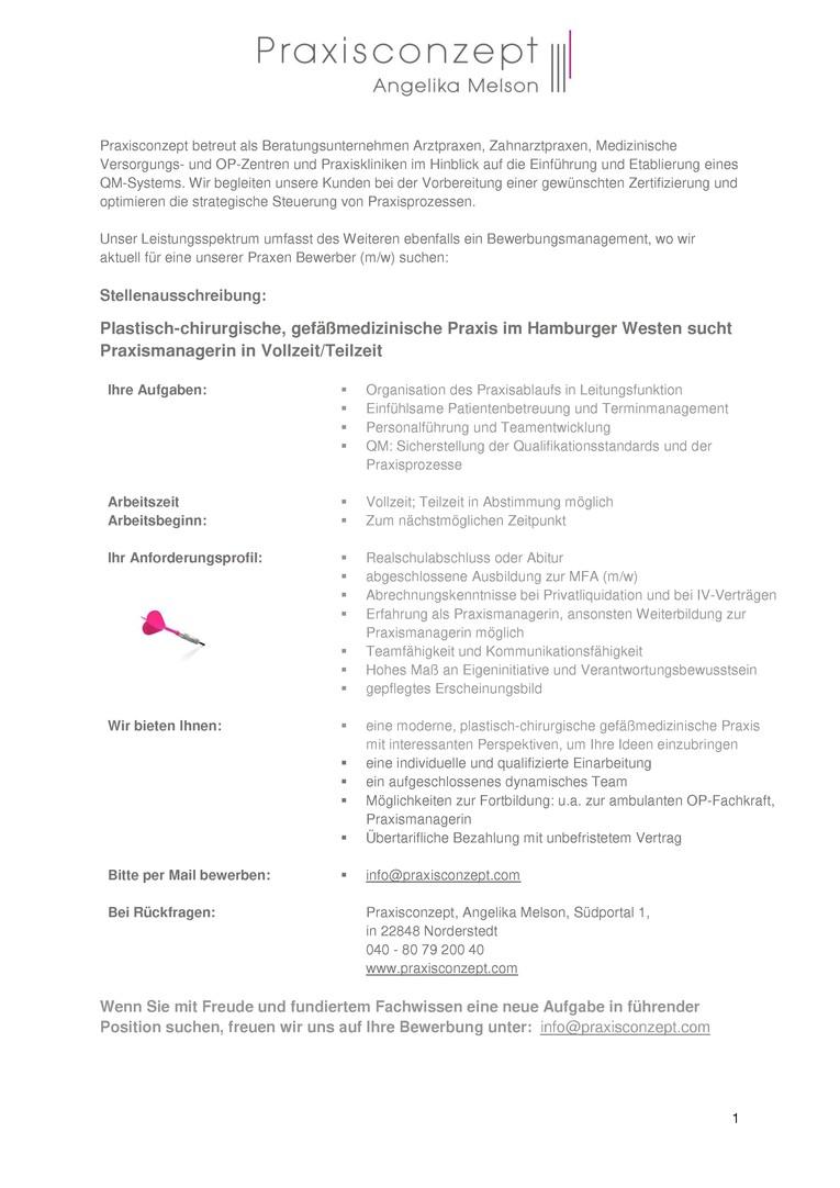 Plastisch-chirurgische, gefäßmedizinische Praxis im Hamburger Westen sucht Praxismanagerin in Vollzeit/Teilzeit