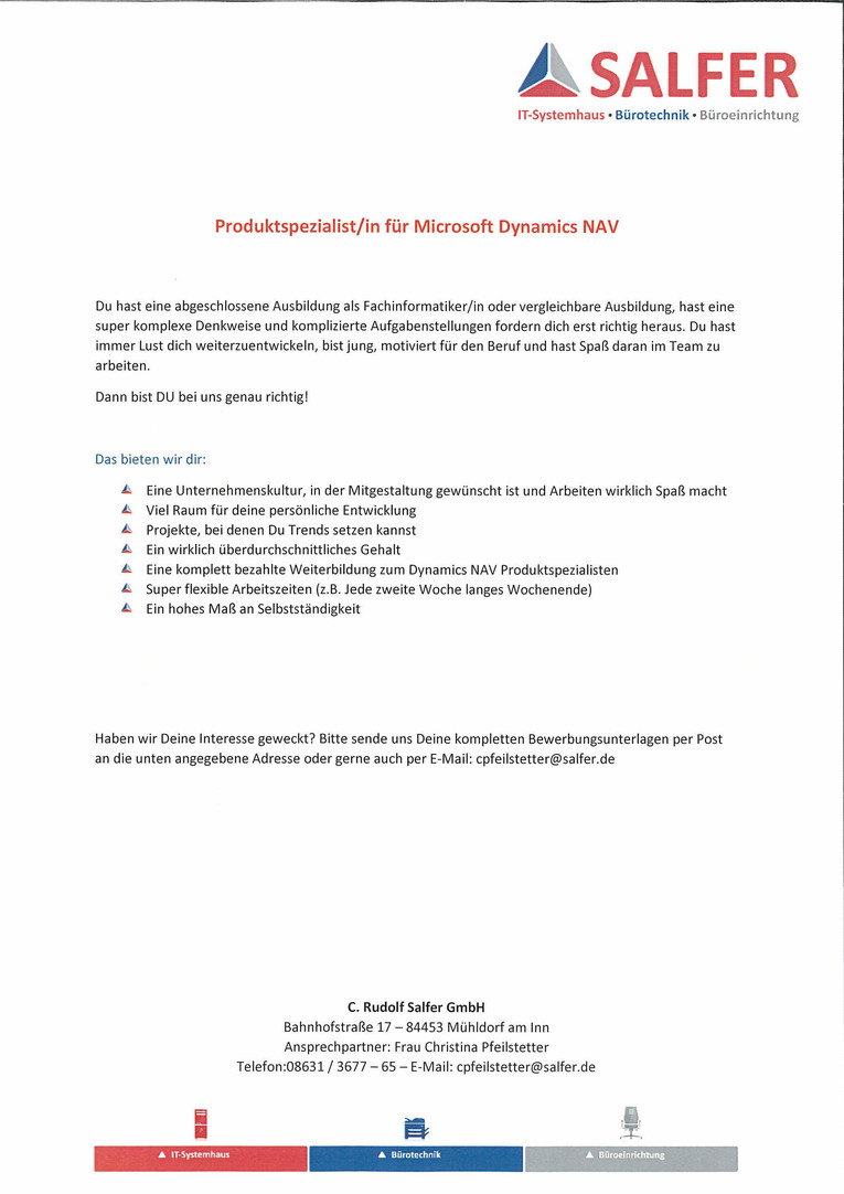 Produktspezialist/in für Microsoft Dynamics NAV