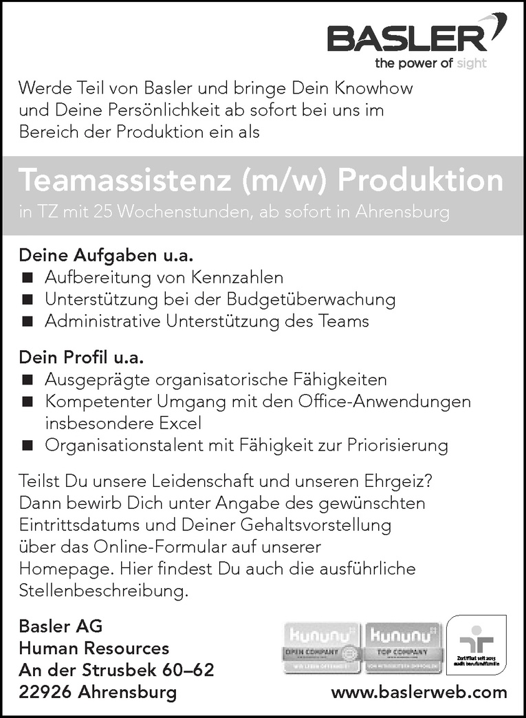 Teamassistenz (m/w) Produktion