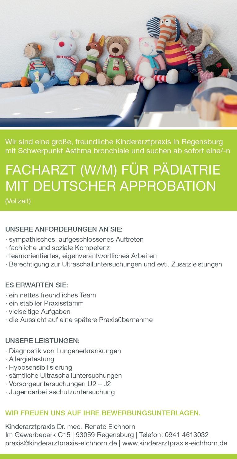 Facharzt (w/m) für Pädiatrie mit deutscher Approbation (Vollzeit)