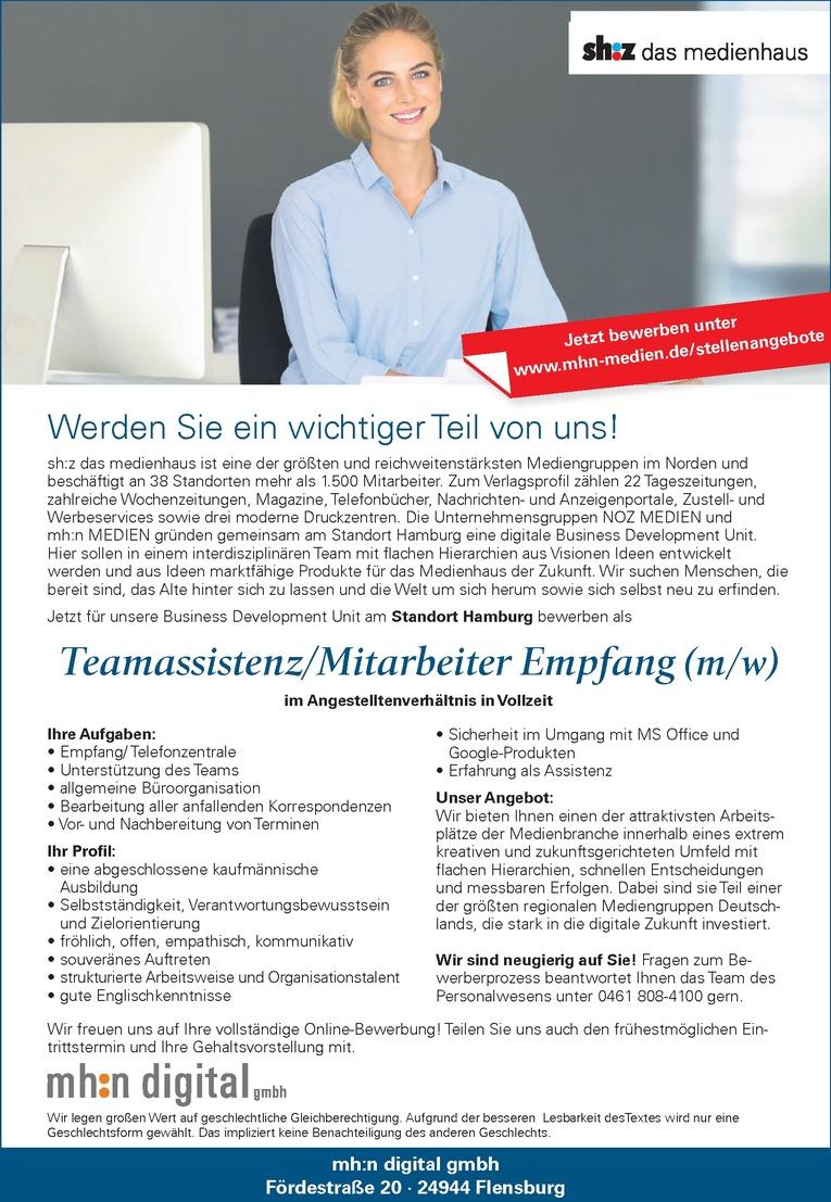 Teamassistenz/Mitarbeiter Empfang (m/w)