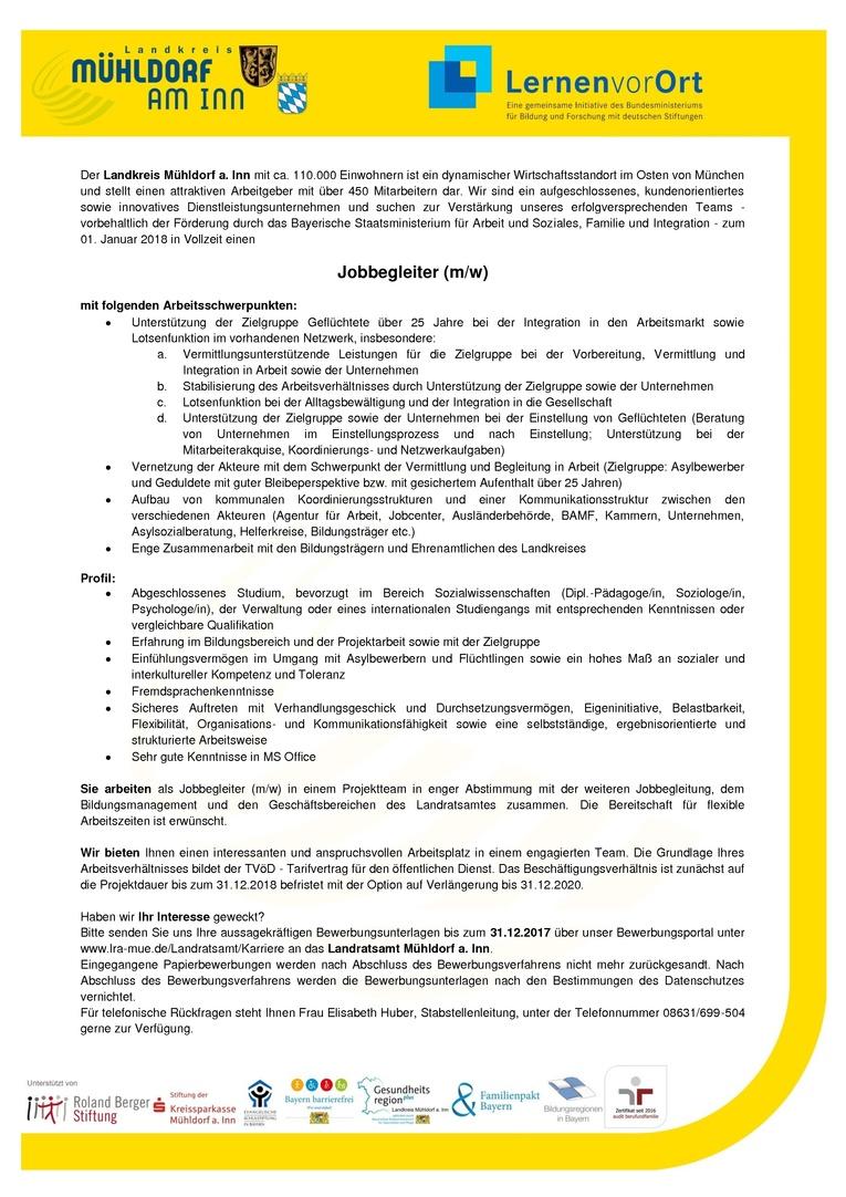 Jobbegleiter (m/w) – Landratsamt Mühldorf (öffentlicher Dienst)