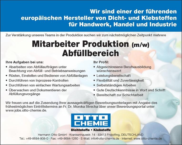 Mitarbeiter Produktion (m/w) - Abfüllbereich