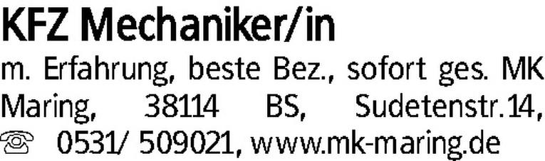KFZ Mechaniker/in