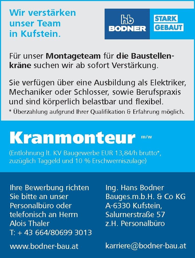 Kranmonteur m/w