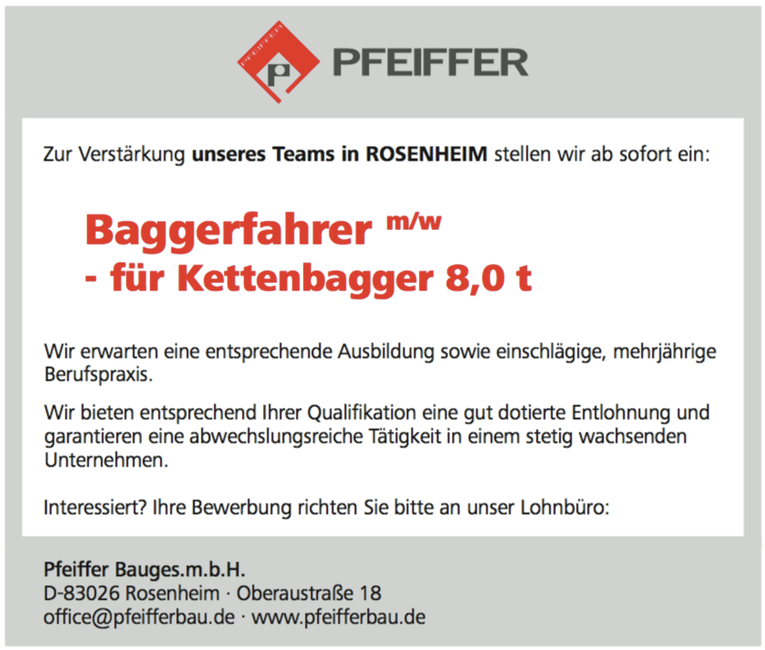 Baggerfahrer (m/w) - für Kettenbagger 8,0 t