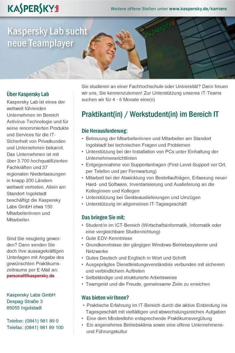 Praktikant / Werkstudent (m/w) im Bereich IT