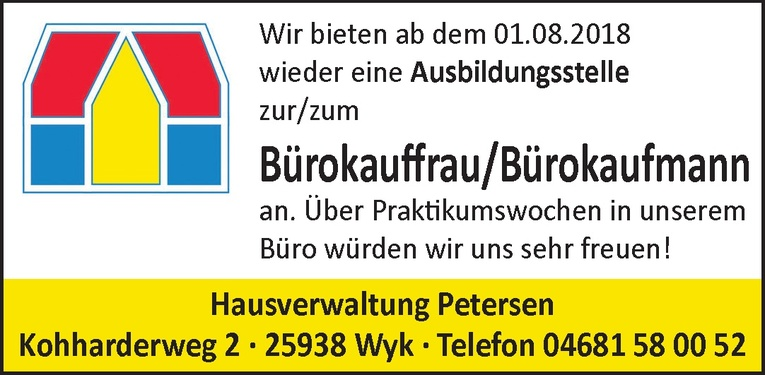 Ausbildungsstelle zur/zum Bürokauffrau/Bürokaufmann