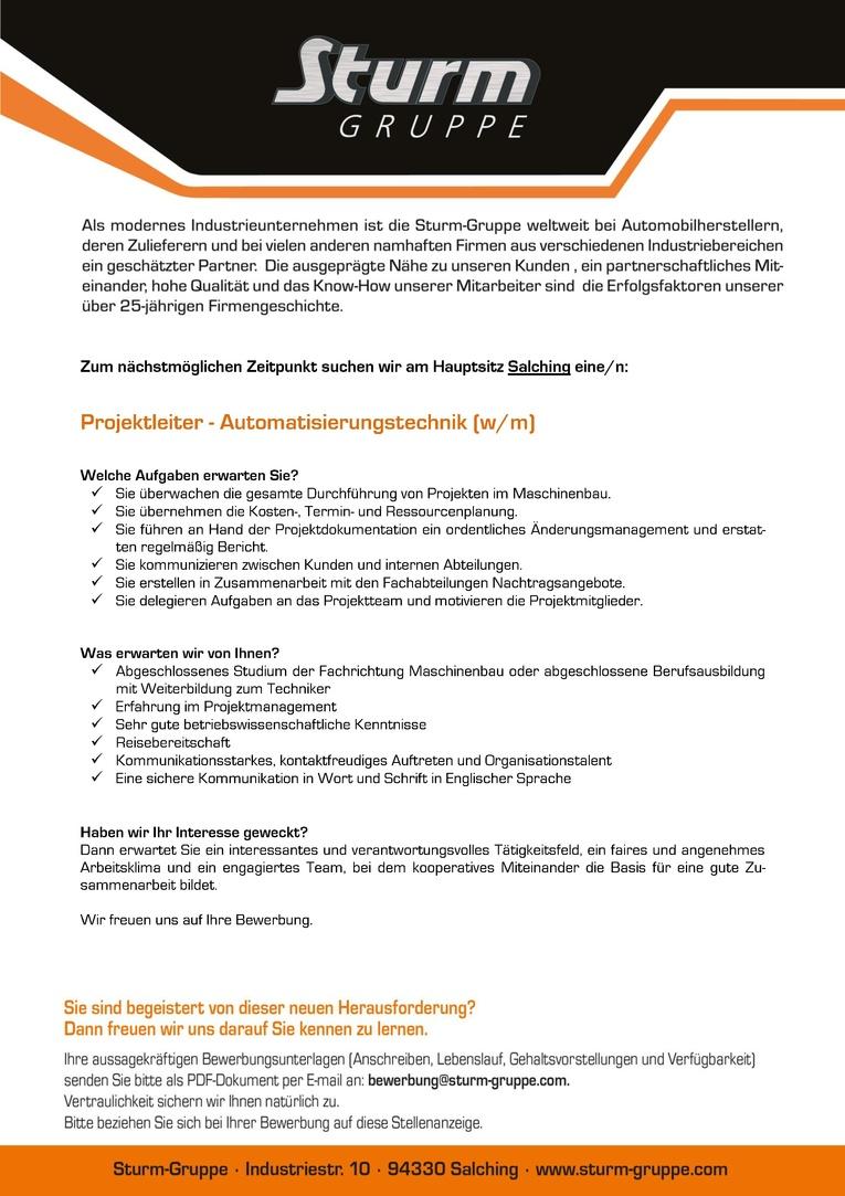 Projektleiter - Automatisierungstechnik (w/m)