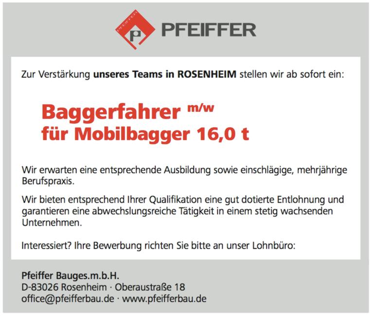 Baggerfahrer (m/w) - für Mobilbagger 16,0 t