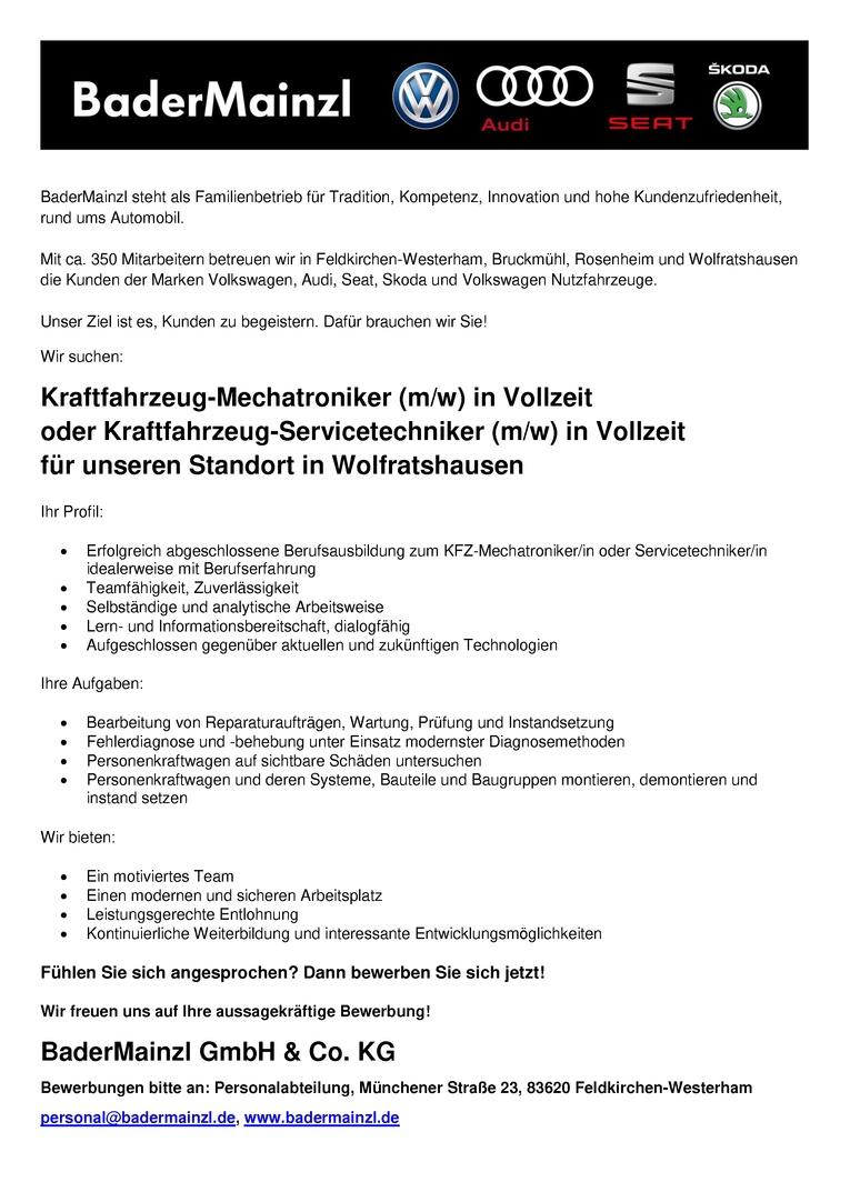 Kfz-Mechatroniker / Kfz-Mechatronikerin oder Servicetechniker / Servicetechnikerin