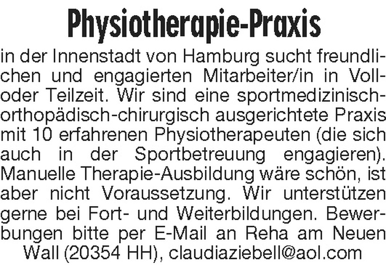 Mitarbeiter/in Physiotherapie