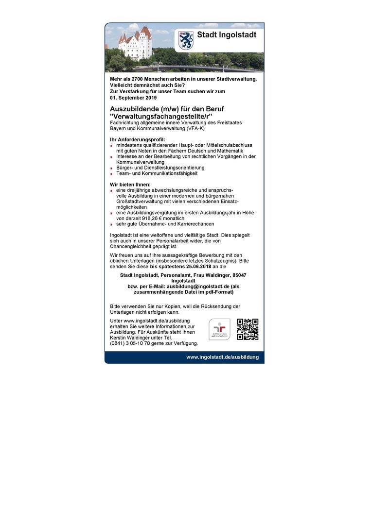 """Auszubildende (m/w) für den Beruf """"Verwaltungsfachangestellte/r"""""""